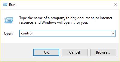 Press Windows Key + R then type control