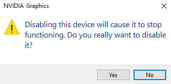 A warning dialog box saying the disabling device will stop functioning