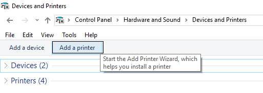 Add a printer from devices and printers