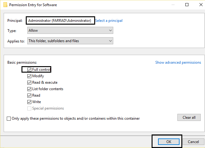 Allow full control in permission for the selected principal