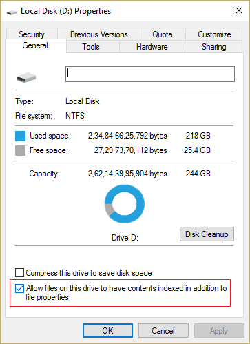 Check mark Allow indexing service to index this disk for fast file searching
