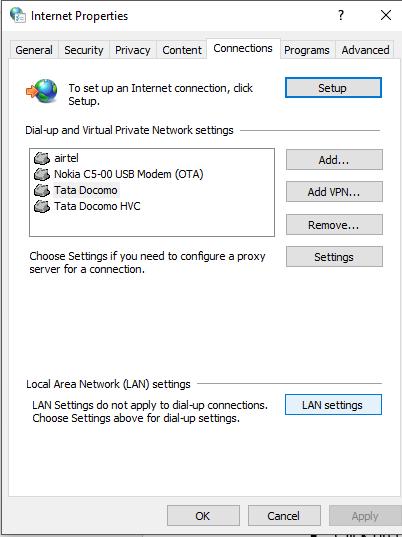 Click on LAN Settings