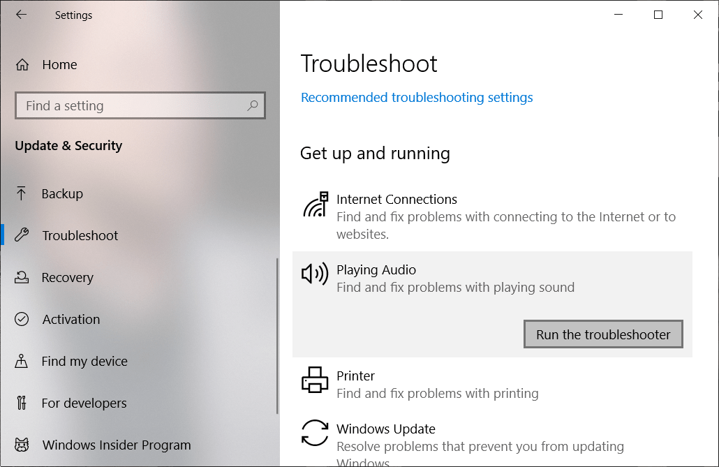 Click on Run the Troubleshooter under Playing Audio | Fix Audio Services Not Responding in Windows 10