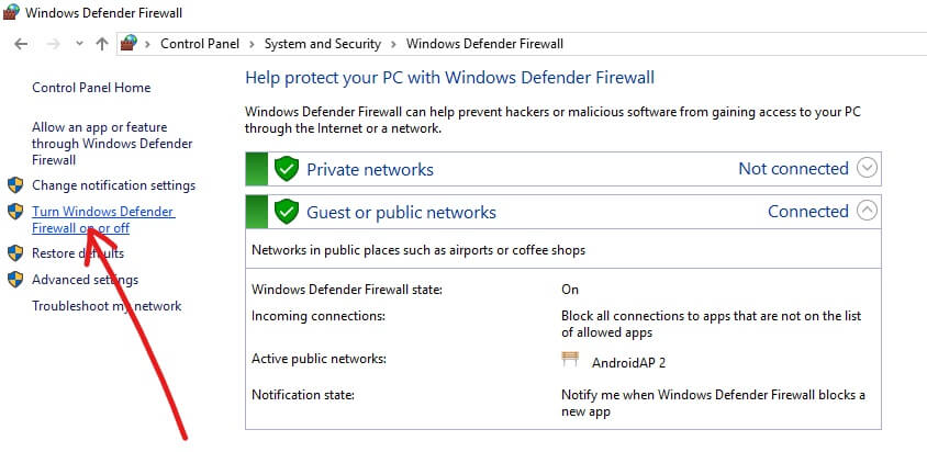 Click on Turn Windows Defender Firewall on or off | The remote device or resource won't accept the connection