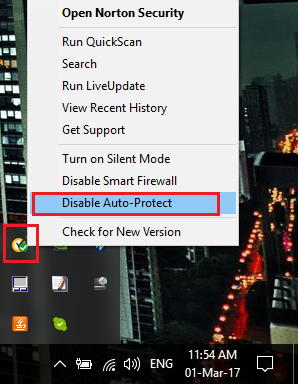 Disable auto-protect to disable your Antivirus