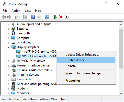 Expand Display adapters then right-click on your Nvidia Graphics card & select Disable