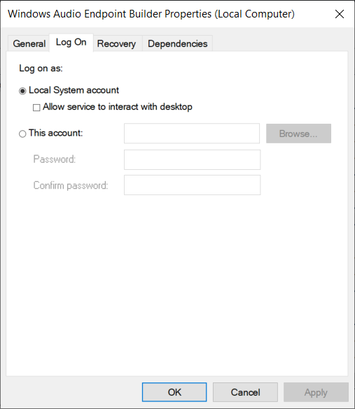 From Log on tab of Windows Audio Endpoint Builder select Local System account