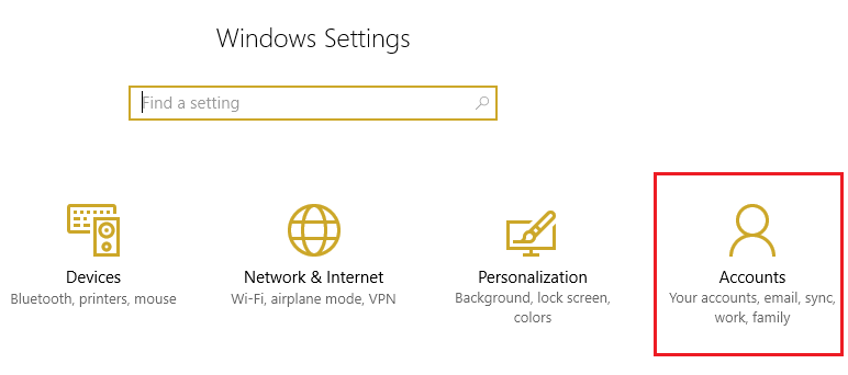 From Windows Settings select Account