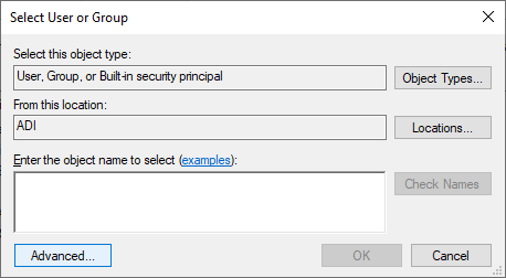 From the Select User or Group window click on the Advanced button