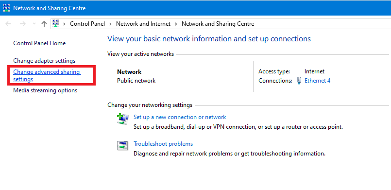 Now, click on Change advanced sharing settings option in the left pane
