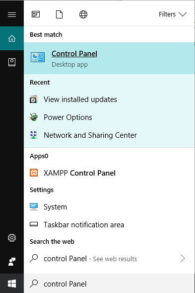 Open Control Panel by searching it under Windows search.