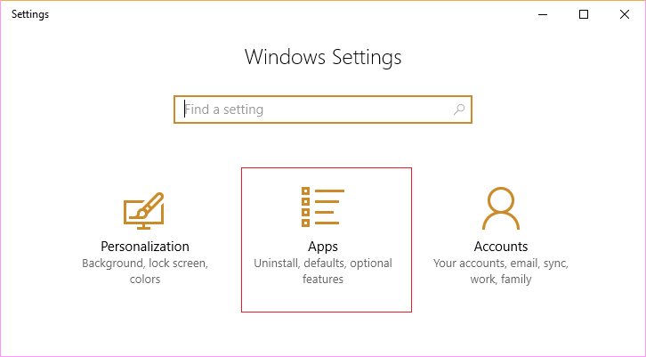 Open Windows Settings then click on Apps