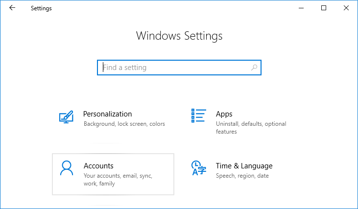 Press Windows Key + I to open Settings then click on Accounts