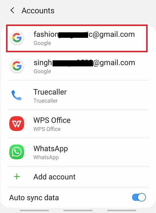 In the Accounts option, tap on the Google account, which is connected to your play store.