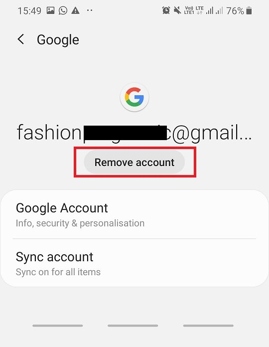 Tap on the Remove account option on the screen - Fix Can't install app Error Code 910