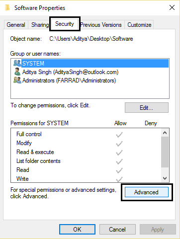Software properties security then advanced