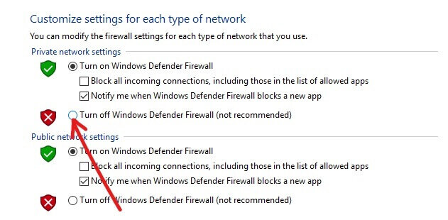 To turn off Windows Defender Firewall for Private network settings