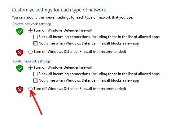 To turn off Windows Defender Firewall for Public network settings