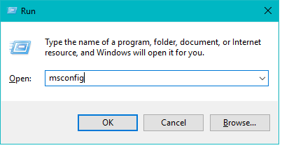 "Type ""msconfig"" in the Run dialog & hit Enter for launching the System Configuration"