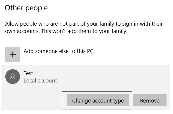 Under Other people choose the account you just created and then select Change account type