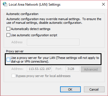 Uncheck Use a Proxy Server for your LAN