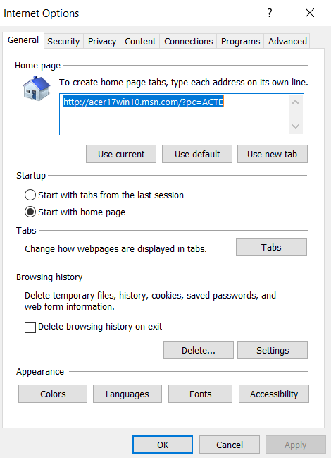 A new window of Internet Options will appear, click on the Advanced tab