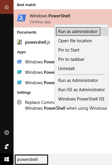powershell right click run as administrator