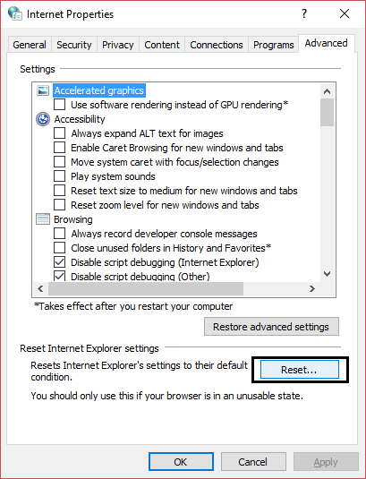reset internet explorer settings | Fix The remote device or resource won't accept the connection error