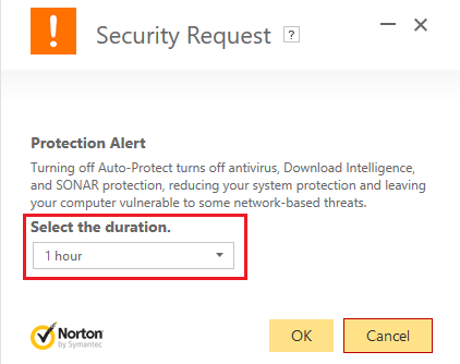 select the duration until when the antivirus will be disabled | Fix ERR INTERNET DISCONNECTED Error in Chrome