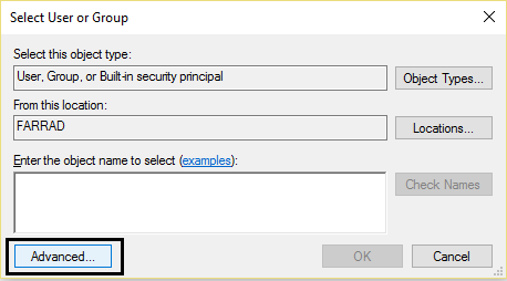 select user or a group advanced