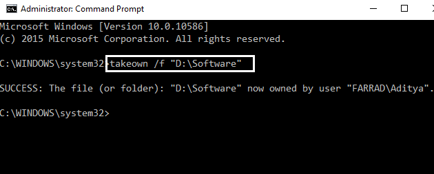 take ownership by command prompt