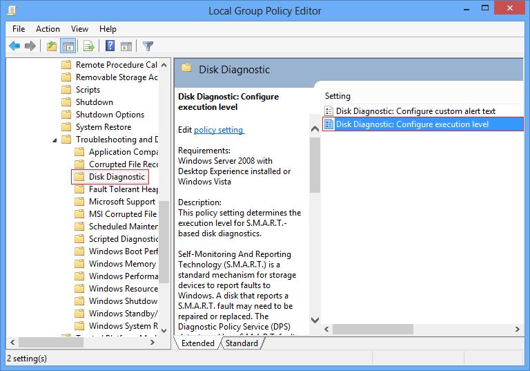 Disk diagnostic configure execution level