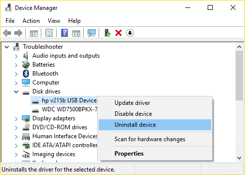 Expand Disk drives then right-click on the drive which is giving the error and select Uninstall