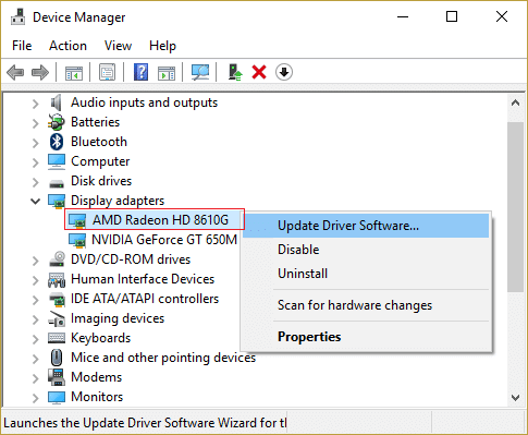 Right-click on your AMD card then select Update Driver