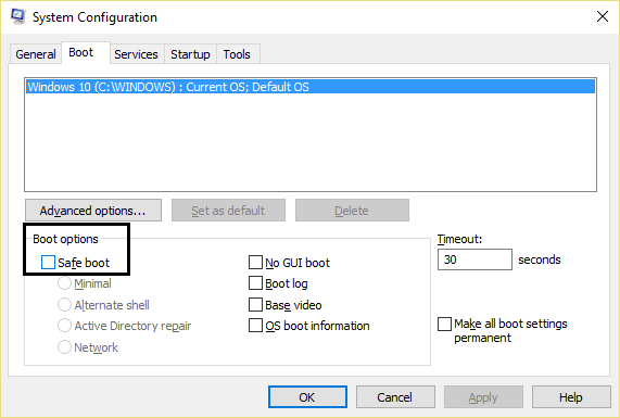 uncheck safe boot option