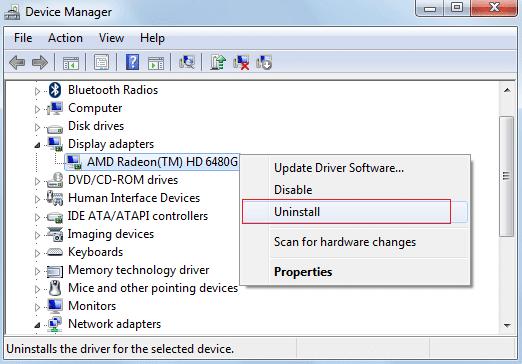 uninstall AMD Radeon graphic card drivers