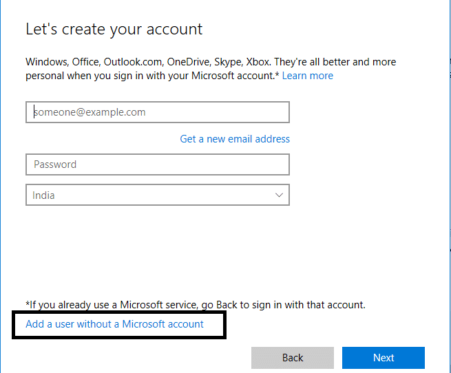 Click on Add a User without a Microsoft account at the bottom