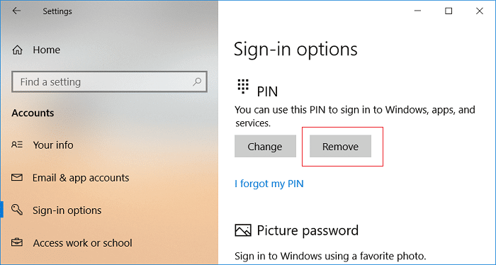 Click on Remove under PIN Sign-in options | Fix Enter Network Credentials Error on Windows 10