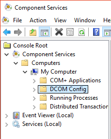 DCOM config in component services