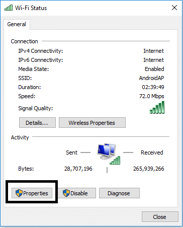 Get a pop window click on Properties | Fix Enter Network Credentials Error on Windows 10