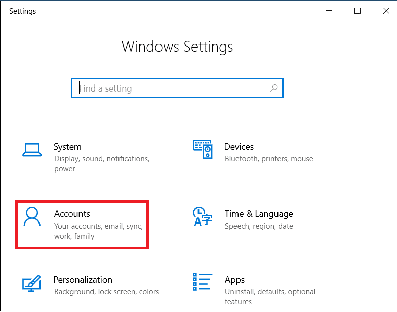 Press Windows Key + I to open settings, click on Accounts option.