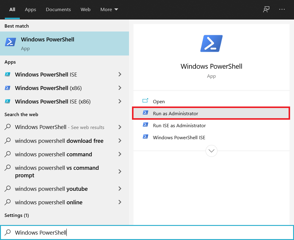 Search for Windows Powershell in the search bar and click on Run as Administrator