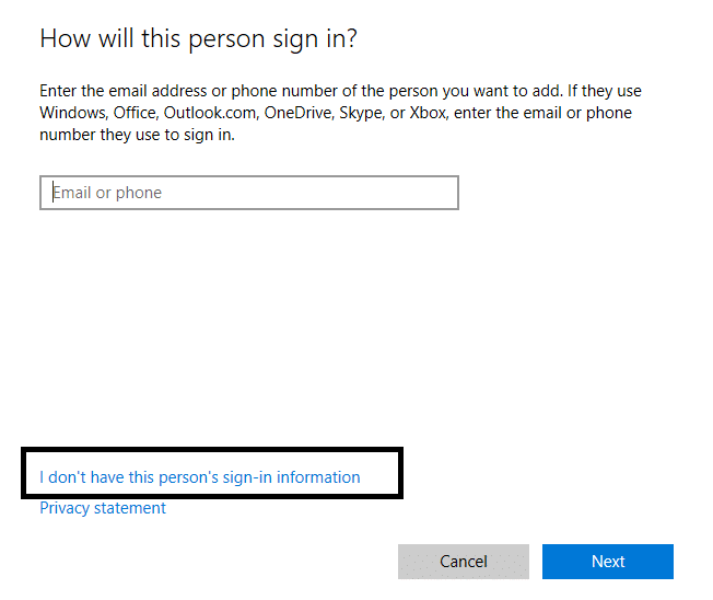 When Windows Prompts then Click on I don't have this person's sign in information option