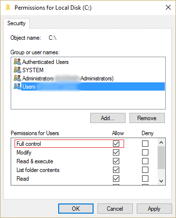 make sure full control is checked for home users and administrator