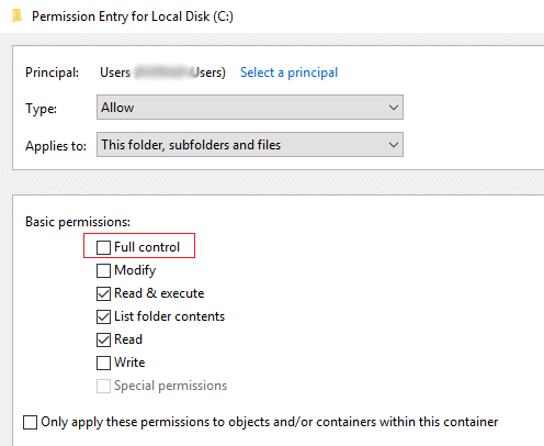 make sure to select full control for the user account giving error