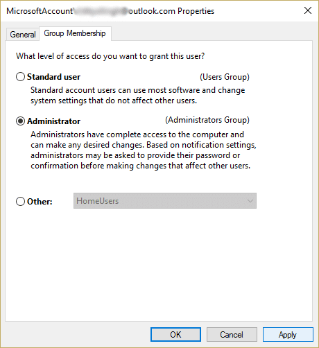 select the Group Membership tab and then select Administrator checkbox
