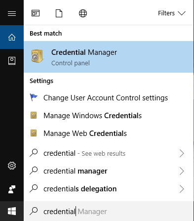 Type credential then click on Credential Manager from the search result